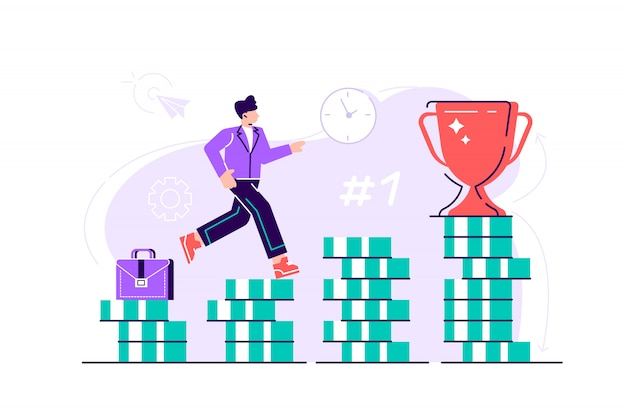 Biznesmen wspina się po schodach od stosów monet do swojego celu finansowego. osobiste inwestycje i koncepcja oszczędności emerytalnych. ilustracja nowoczesny projekt płaski na stronie internetowej, karty.
