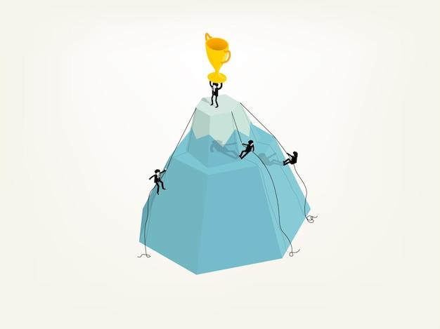 Biznesmen, wspinaczka, aby zdobyć trofeum, koncepcja sukcesu w biznesie.
