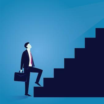 Biznesmen wspinaczka drabiny sukcesu