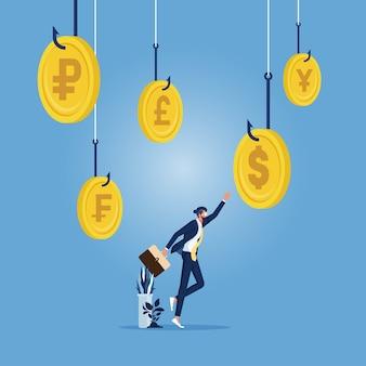 Biznesmen wybiera jeden z haczyków wędkarskich z pieniędzmi, koncepcja przynęty i haczyka w biznesie