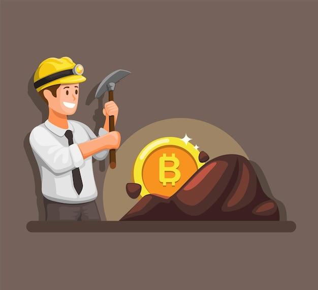 Biznesmen wydobywający bitcoiny, kryptowaluta w kreskówce