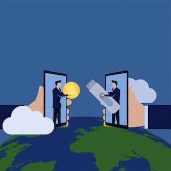 Biznesmen wymiany danych transakcji dysku flash za pieniądze zakupu danych sprzedaży.