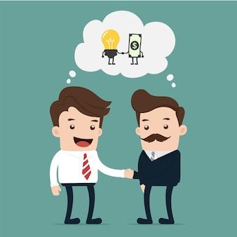 Biznesmen wymienia pieniądze na pomysł