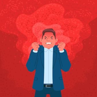 Biznesmen wyrażający gniew. zły człowiek w płomieniu wściekłości. ilustracja wektorowa w stylu płaski