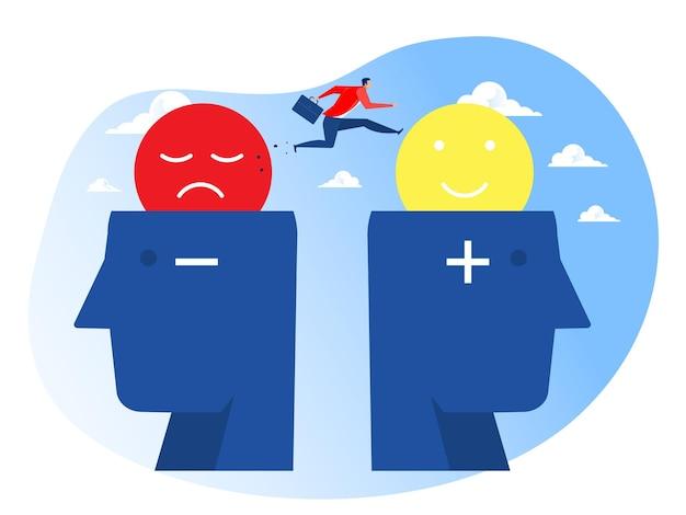 Biznesmen wysoko skacze od negatywnego do pozytywnego na nowym wektorze myślenia