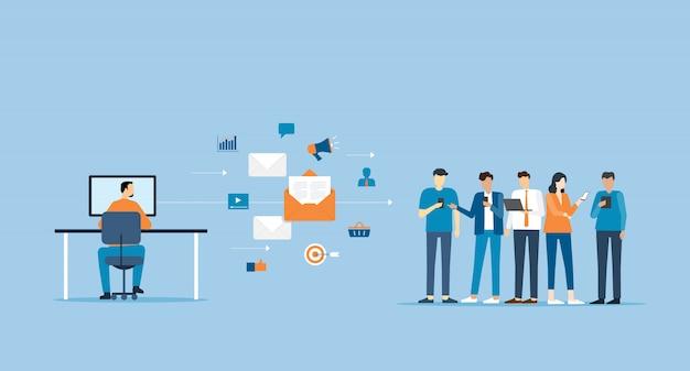 Biznesmen wysyłanie wiadomości do grupy osób i koncepcji marketingowej e-mail firmy