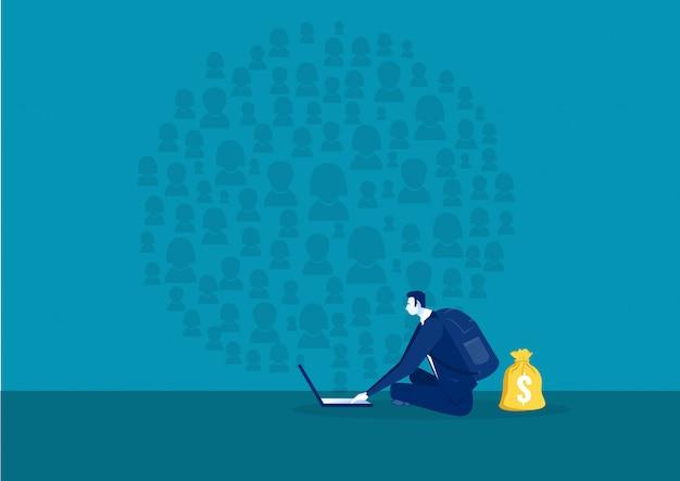 Biznesmen wyszukiwanie w sieci społecznościowej