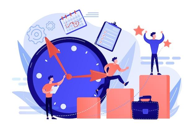 Biznesmen wyznacza cele i biegnie po kolumnach wykresów, aby odnieść sukces na czas. samozarządzanie, nauka samoregulacji, ilustracja koncepcji kursu samoorganizacji