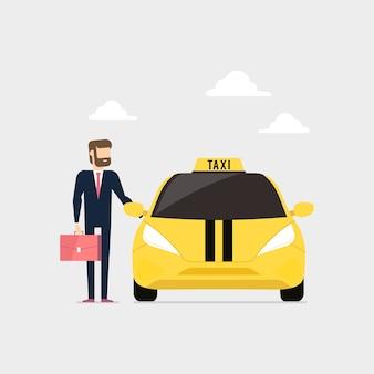 Biznesmen wzywa taksówkę i otwiera drzwi taksówki.