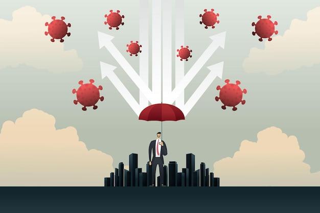 Biznesmen z czerwonym parasolem chroniącym strzały przed koronawirusem covid19