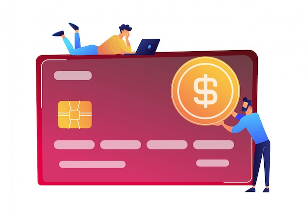 Biznesmen z dolar monetą i ogromną kredytowej karty wektoru ilustracją.