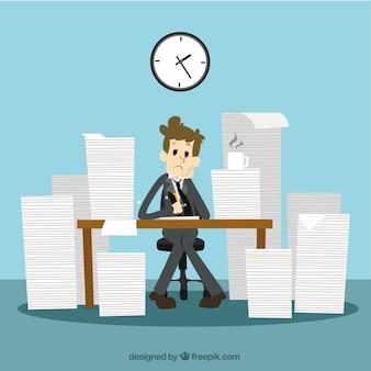 Biznesmen z dużo pracy