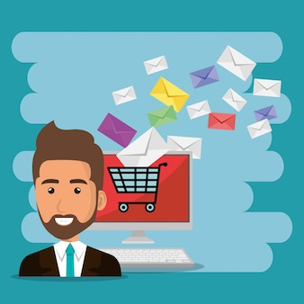 Biznesmen z e-mail marketingowymi ikonami