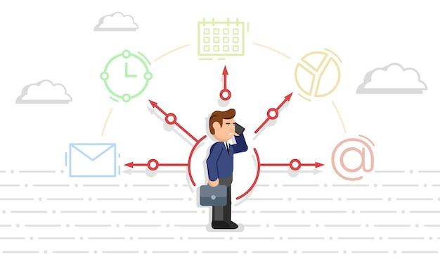 Biznesmen z elementami biurowymi. wielozadaniowość i zarządzanie czasem. koncepcja efektywnego zarządzania. ilustracja wektorowa.