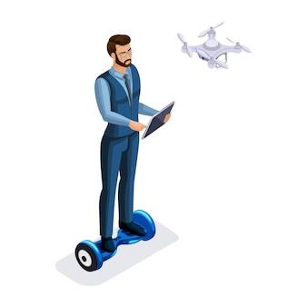 Biznesmen z gadżetami, tabletem, laptopem, dronem, gyroscooter, ilustracją