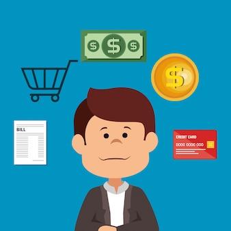 Biznesmen z ikonami oszczędzania pieniędzy
