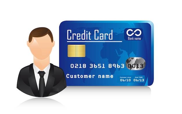 Biznesmen z ikony ilustracja karta kredytowa wektor