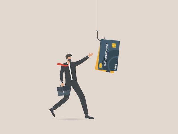 Biznesmen z kartą kredytową na haczyku wędkarskim