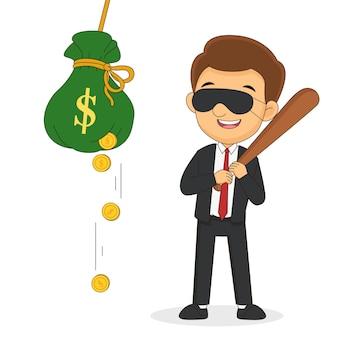 Biznesmen z kijem bejsbolowym bije torbę z pieniędzmi
