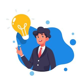 Biznesmen z kreatywnie wektorową ilustracją