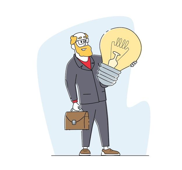 Biznesmen z kreatywnym pomysłem, wnikliwością, wizją biznesową, procesem edukacyjnym i motywacją
