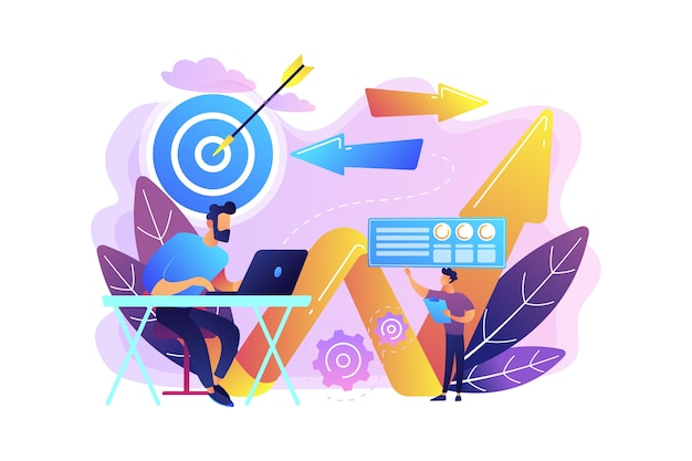 Biznesmen z laptopem, celem i strzały. kierunek biznesowy i strategia, zwrot i koncepcja kampanii zmiany kierunku