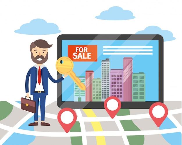 Biznesmen z lokalizacją mapy i komputerem z mieszkaniem