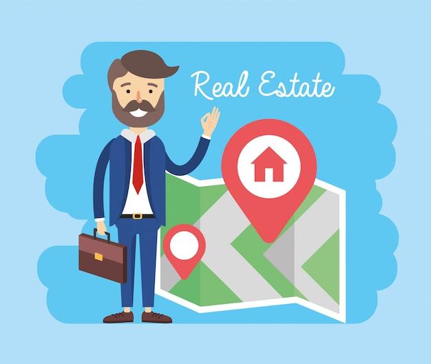Biznesmen z lokalizacją mapy nieruchomości do sprzedaży