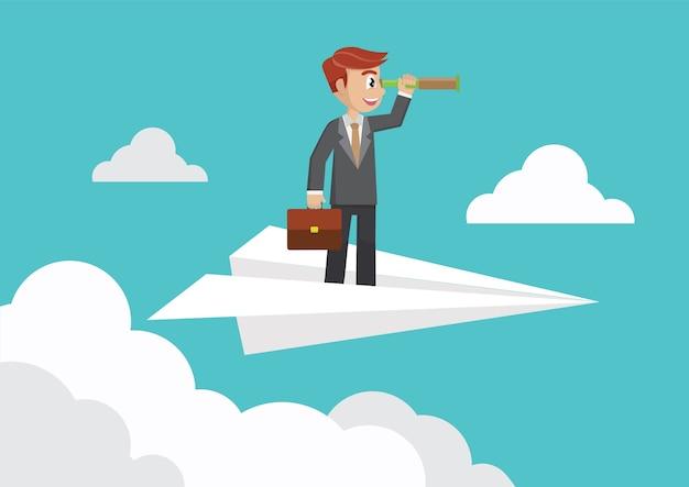 Biznesmen z lornetkami na papierze hebluje w niebie.