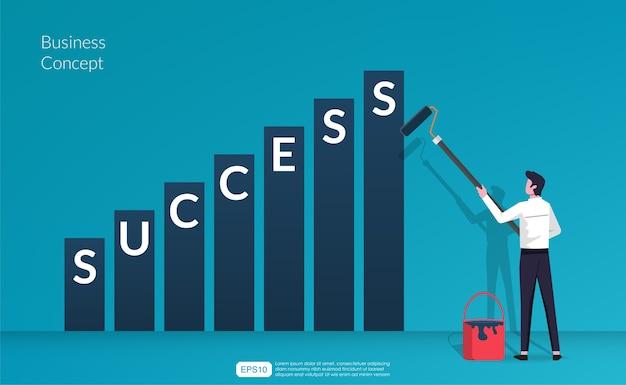 Biznesmen z malowaniem wałkiem do malowania słowa sukces wewnątrz zwiększonej ilustracji wykresu słupkowego.