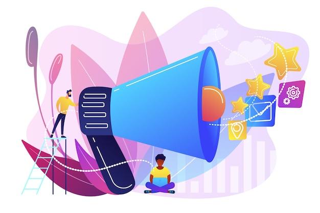 Biznesmen z megafonem promuje ikony mediów. promocja sprzedaży i marketing, strategia promocji, koncepcja produktów promocyjnych