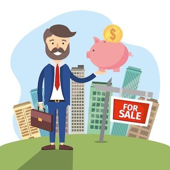 Biznesmen z mieszkania sprzedaży nieruchomości mieszkalnych