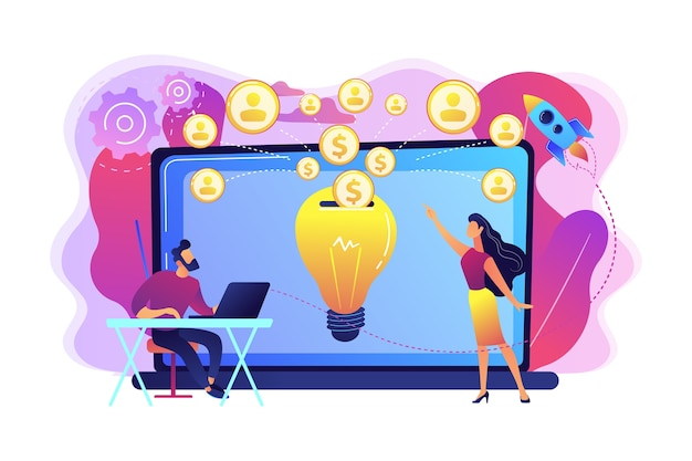 Biznesmen z nowym projektem w laptopie i ludzie finansujący go przez internet. crowdfunding, projekt crowdsourcingowy, koncepcja alternatywnego finansowania.