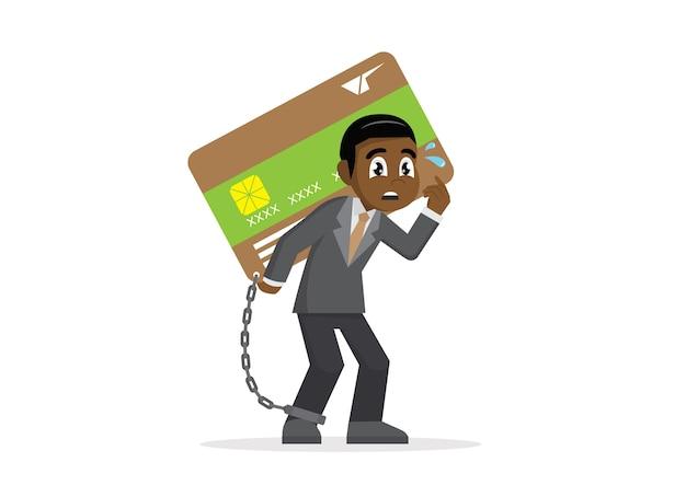 Biznesmen z obciążeniem karty kredytowej.