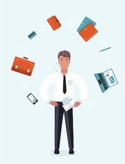 Biznesmen z obciążeniem pracą