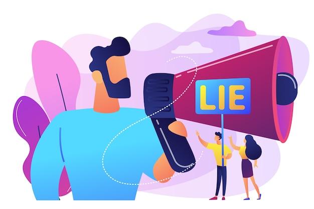 Biznesmen z ogromnym megafonem oszukuje i malutkimi ludźmi trzymającymi słowo kłamie. oszukiwanie w zawodach, osoba oszukująca, koncepcja użycia kodów do gier.