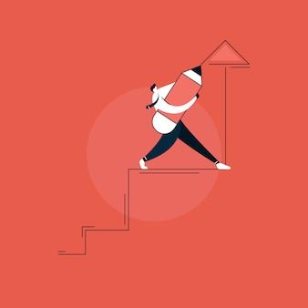 Biznesmen z piórem rysunek schody wzrostu koncepcja, koncepcja sukcesu w biznesie