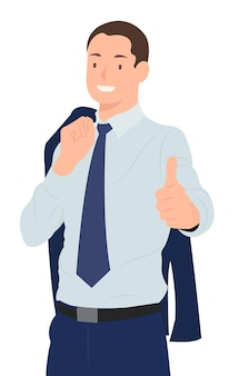 Biznesmen z płaszczem krzyżuje się przez ramię, pokazując kciuk do góry