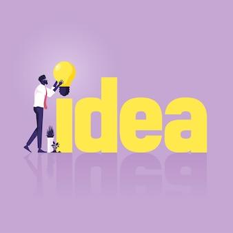 Biznesmen z pomysłem słowo. koncepcja stworzenia i budowy pomysłu