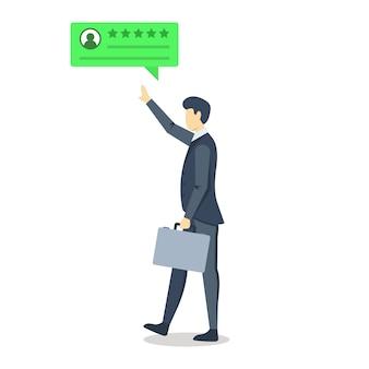 Biznesmen z pozytywną recenzją