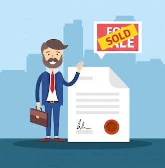 Biznesmen z prawdziwym dokumentem państwa sprzedanego domu