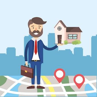 Biznesmen z prawdziwym państwowym domem z lokalizacją mapy