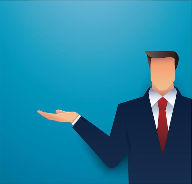 Biznesmen z prezentacją ręki