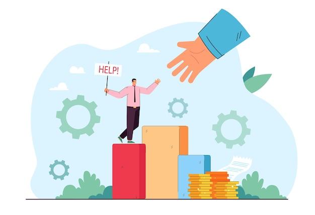 Biznesmen z prośbą o pomoc. ogromna ręka ratująca człowieka w awaryjnej płaskiej ilustracji
