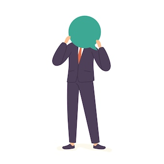 Biznesmen z pustym balonem dialogowym, człowiek myślący, męski charakter z twarzą dymek na białym tle