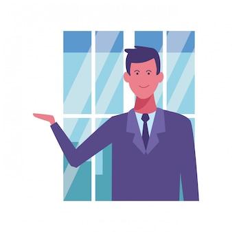Biznesmen z ręcznie otwartą kreskówkę