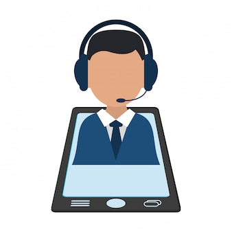 Biznesmen z słuchawki na smartphone