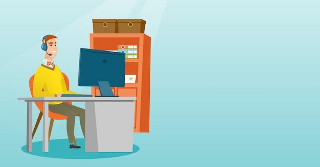 Biznesmen z słuchawki pracuje przy biurem.