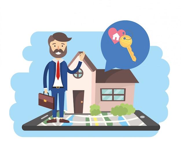 Biznesmen z smartphone mapą i sprzedaż domem