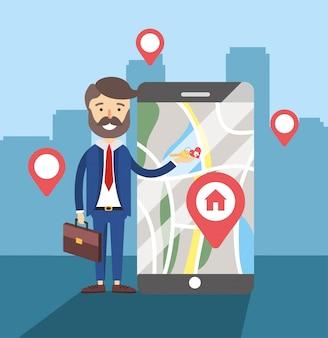 Biznesmen z smartphone sprzedaż domu lokalizacji mapę